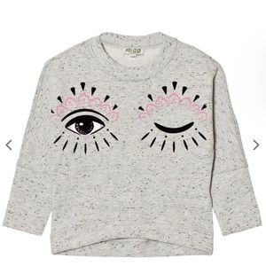 Kenzo Grey Marl Eye Print Drop Hem Sweatshirt 10